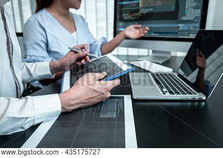 Team Of Developer Programmer Working On Coding Program Software Computer In Office, Writing Website