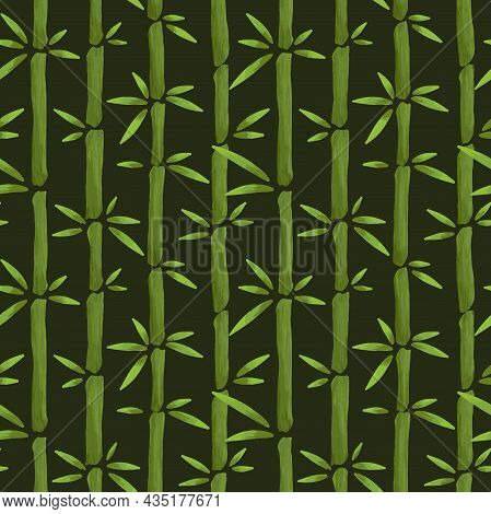 Bamboo Seamless Pattern With Vertical Stems And Green Bamboo Leaves In Cartoon Hand Drawn Style, Vec