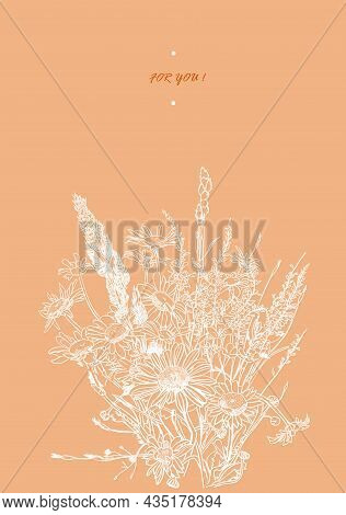 Vector Drawing Of A Bouquet Of Daisies With White Lines On An Orange Background, Sketch Vector Graph