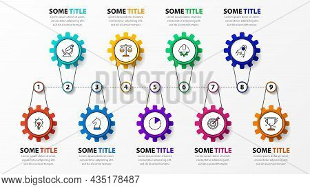 Infographic Design Template. Timeline Concept With 9 Steps. Can Be Used For Workflow Layout, Diagram