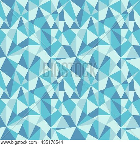 Blue Polygonal Mosaic Background. Triangular Low Poly Seamless Pattern.  Abstract Geometric Rumpled