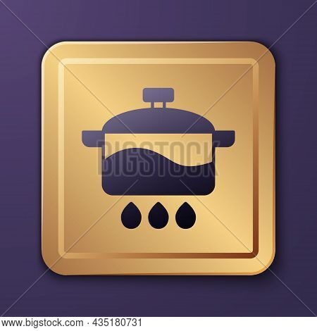 Purple Cooking Pot Icon Isolated On Purple Background. Boil Or Stew Food Symbol. Gold Square Button.