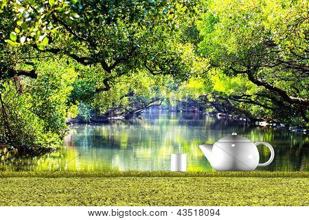 Teapot with nice green background