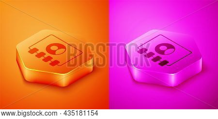 Isometric Address Book Icon Isolated On Orange And Pink Background. Notebook, Address, Contact, Dire