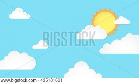 Day sky desktop wallpaper, pastel paper cut HD background