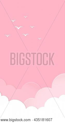 Pink sky iPhone wallpaper, mobile pastel background