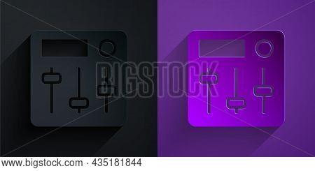 Paper Cut Sound Mixer Controller Icon Isolated On Black On Purple Background. Dj Equipment Slider Bu