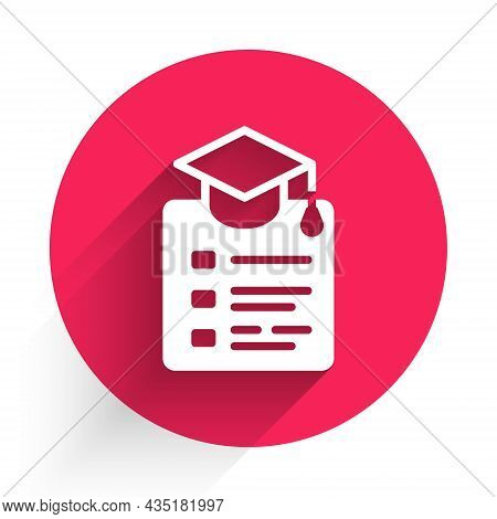 White Online Education And Graduation Icon Isolated With Long Shadow. Online Teacher On Monitor. Web