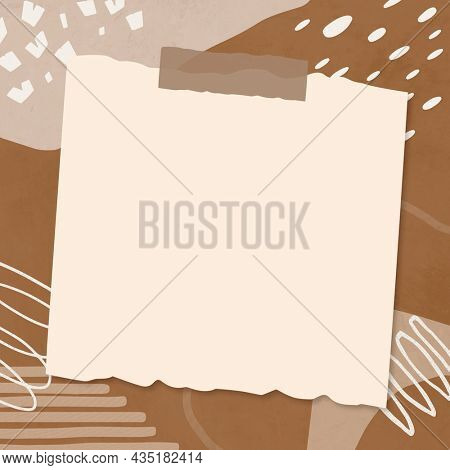 Memphis frame beige paper collage on brown abstract background