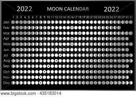 2022 Moon Calendar. Astrological Calendar Design. Planner. Place For Stickers. Month Cycle Planner M