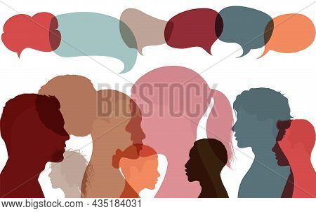 Silhouette Heads Faces Of Multicultural Business People With Speech Bubble. Concept For Expressing O