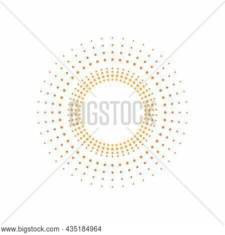 Light Rays Frame Made With Stars. Orange And Golden Shine Burst Background. Radiant Spark, Fireworks