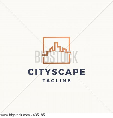 City Scape Abstract Vector Sign, Symbol Or Logo Template. Geometry Line Buildings In A Square Frame