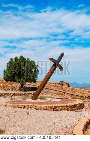 a giant sward in the Castle of Lorca, in Lorca, in the Region of Murcia, Spain