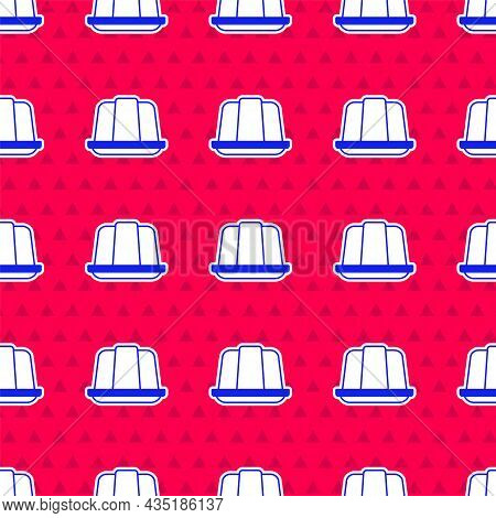 Blue Jelly Cake Icon Isolated Seamless Pattern On Red Background. Jelly Pudding. Vector