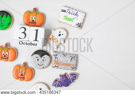 Halloween Funny Cookies With 31 October Calendar On White Background. Trick Or Threat, Happy Hallowe