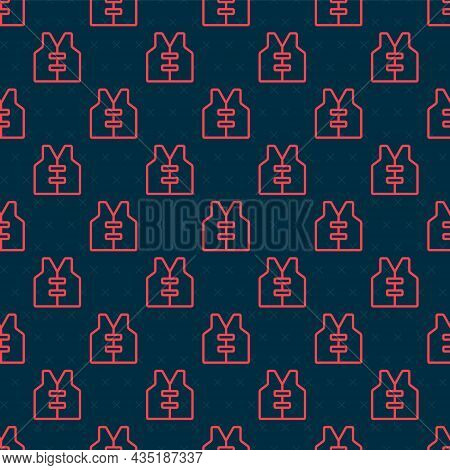 Red Line Life Jacket Icon Isolated Seamless Pattern On Black Background. Life Vest Icon. Extreme Spo