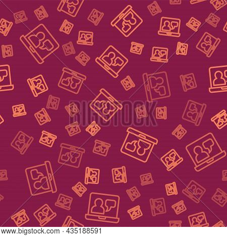 Brown Line Online Education And Graduation Icon Isolated Seamless Pattern On Red Background. Online