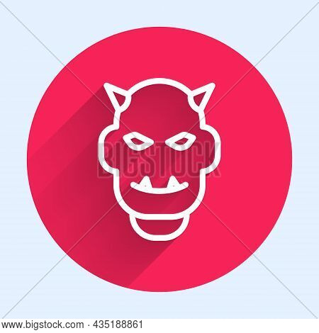 White Line Mask Of The Devil With Horns Icon Isolated With Long Shadow. Red Circle Button. Vector