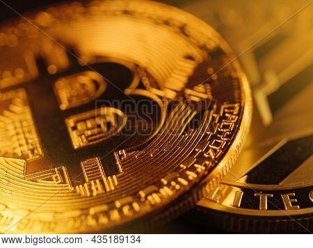 Bitcoin golden digital coins money closeup