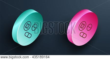 Isometric Line Medicine Pill Or Tablet Icon Isolated On Black Background. Capsule Pill And Drug Sign