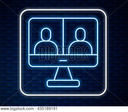 Glowing Neon Line Video Chat Conference Icon Isolated On Brick Wall Background. Computer With Video