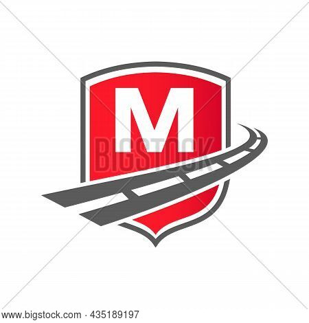 Transport Logo With Shield Concept On Letter M Concept. M Letter Transportation Road Logo Design Fre