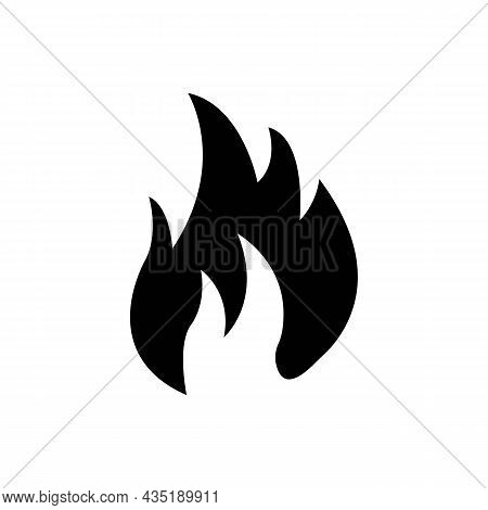 Fire Or Flame Sign Black Icon On White Background. Trendy Flat Isolated Symbol, Sign Can Be Used For