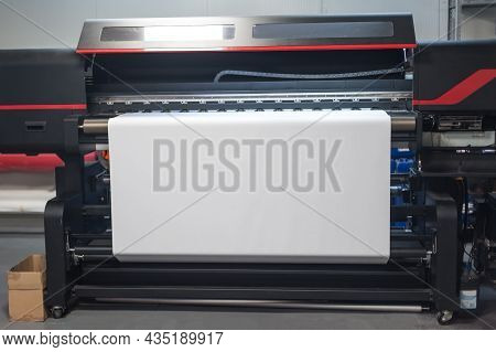 Blank Empty Space Of White Paper On Large Premium Industrial Printer And Plotter Machine In Digital