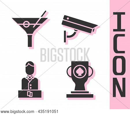Set Casino Poker Trophy Cup, Martini Glass, Casino Dealer And Security Camera Icon. Vector