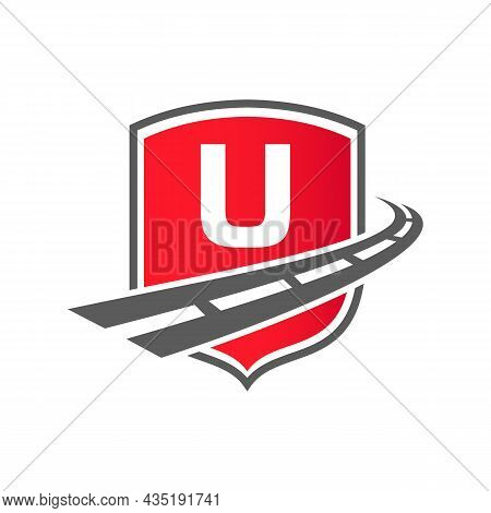 Transport Logo With Shield Concept On Letter U Concept. U Letter Transportation Road Logo Design Fre