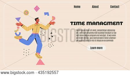Time Management Banner. Multitasking, Productivity, Skillful Concept. Man Balances On A Triangle And