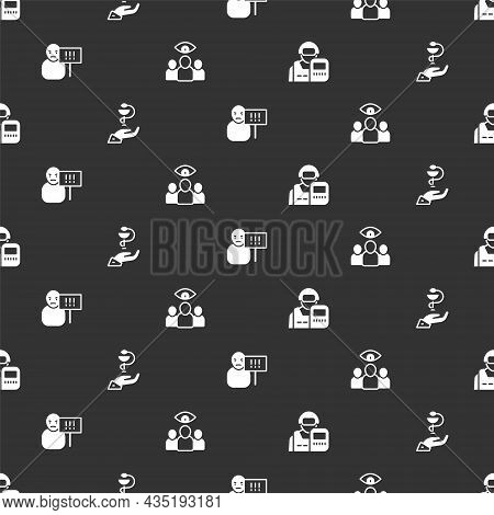 Set Police Officer, Caduceus Snake Medical, Protest And Spy, Agent On Seamless Pattern. Vector