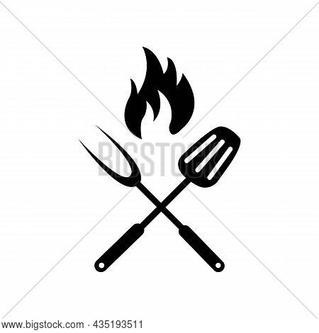 Barbeque Logo Or Fire, Spatula And Fork Black Icon On White. Trendy Flat Isolated Outline Symbol, Si