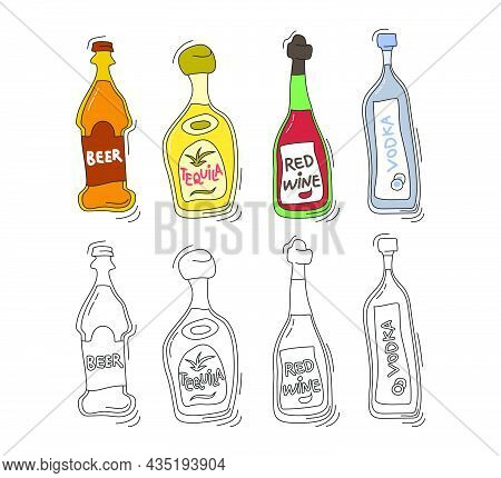 Beer, Tequila, Red Wine, Vodka Bottle On White Background. Two Kinds Beverage. Cartoon Sketch. Doodl