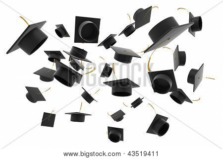 Graduation hat on white background