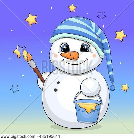 A Cute Cartoon Snowman In A Striped Nightcap Paints Stars. Night Vector Illustration On A Blue Backg