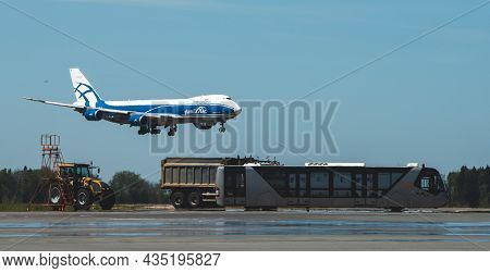 May 11, 2021, Moscow, Russia. Airplane Boeing 747 Of Airbridgecargo Airlines On The Airfield Of Sher
