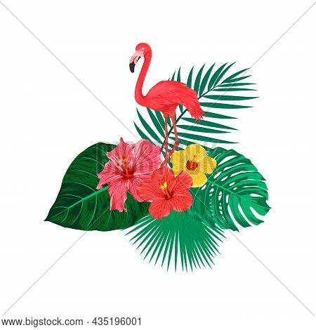 Flamingo Bird, Tropical Leaves And Flowers. Tropical Flat Vector Illustration. Africa, Savannh, Exot
