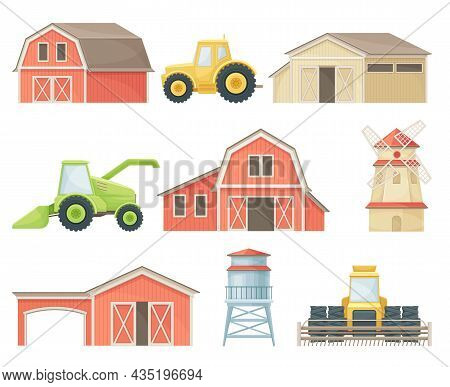 Farm Agricultural Buildings And Industrial Vehicles Agricultural Machinery, Barn, Silo Tower, Windmi