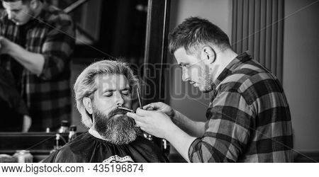 Test Your Face. Get Perfect Shape. Bearded Man Getting Beard Haircut By Barber. Moustache And Beard.