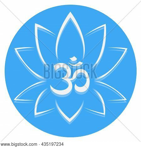 Abstract Lotus Flower And Om Symbol, Vector Illustration
