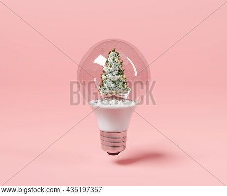 Light Bulb With Christmas Tree And Snow Inside. Minimalist Concept. 3d Rendering