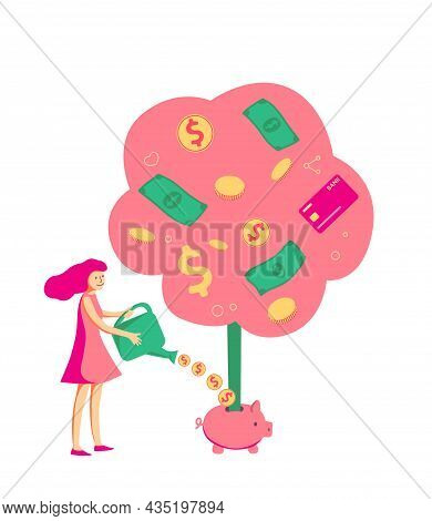 Girl Growing Money Tree By Coins. Trader, Investor Concept For Stock Trading. Flat Vector Design - P