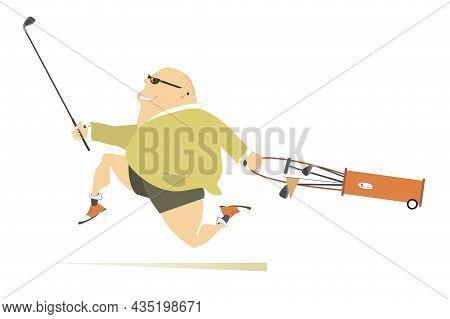 Smiling Fat Golfer Man Runs To Play Golf Illustration.  Cartoon Smiling Fat Bald-headed Man In Sungl
