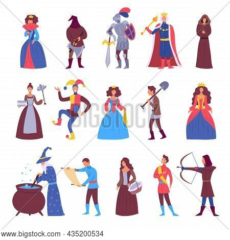 Cartoon Color Characters People Citizens Of Medieval Age Town Set Concept Flat Design Style. Vector