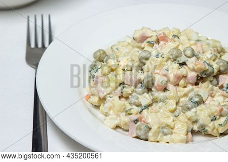 Vegetable Salad On A White Plate. Diet Food. Healthy Food Portion