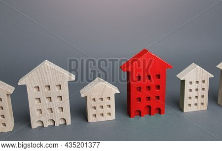 Red House Among Other Buildings. Disconnection From Utilities And Communications, Debts, Emergency.