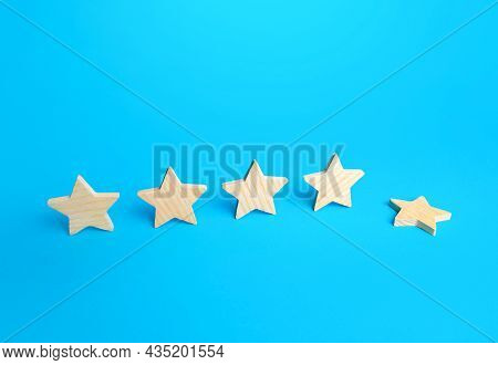 One Of The Five Stars Fell Down. Loss Of The Fifth Star. Drop In Rating, Prestige And Reputation Red