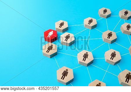 Red Person Intervenes In The People Network And Takes Control. Capture And Occupation. Leader And Le